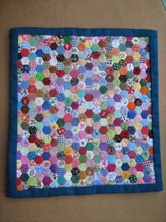 Miniature Doll Quilt . Hexagons for Hitty