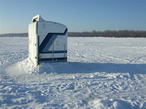 Bradley 39 s blog ice houses made from truck sleepers for Ice fishing cabins alberta