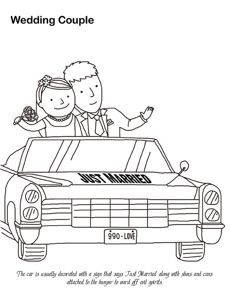 Wedding Couple In Car Coloring Page