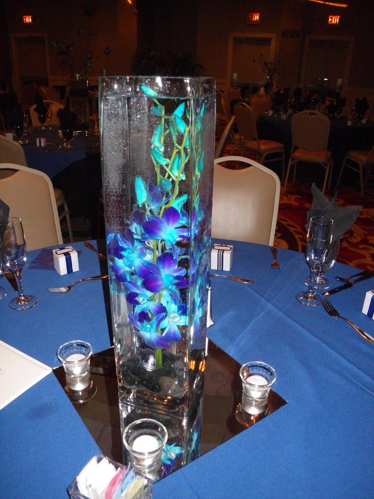 Eletragesi blue orchid flower centerpieces images