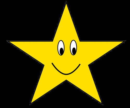 gold star with happy face clipart sketch , lge 12cm
