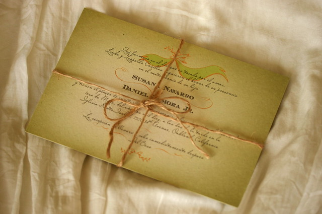 Vintage Mexican Wedding Invitations SDFull set with Spanish invitation on