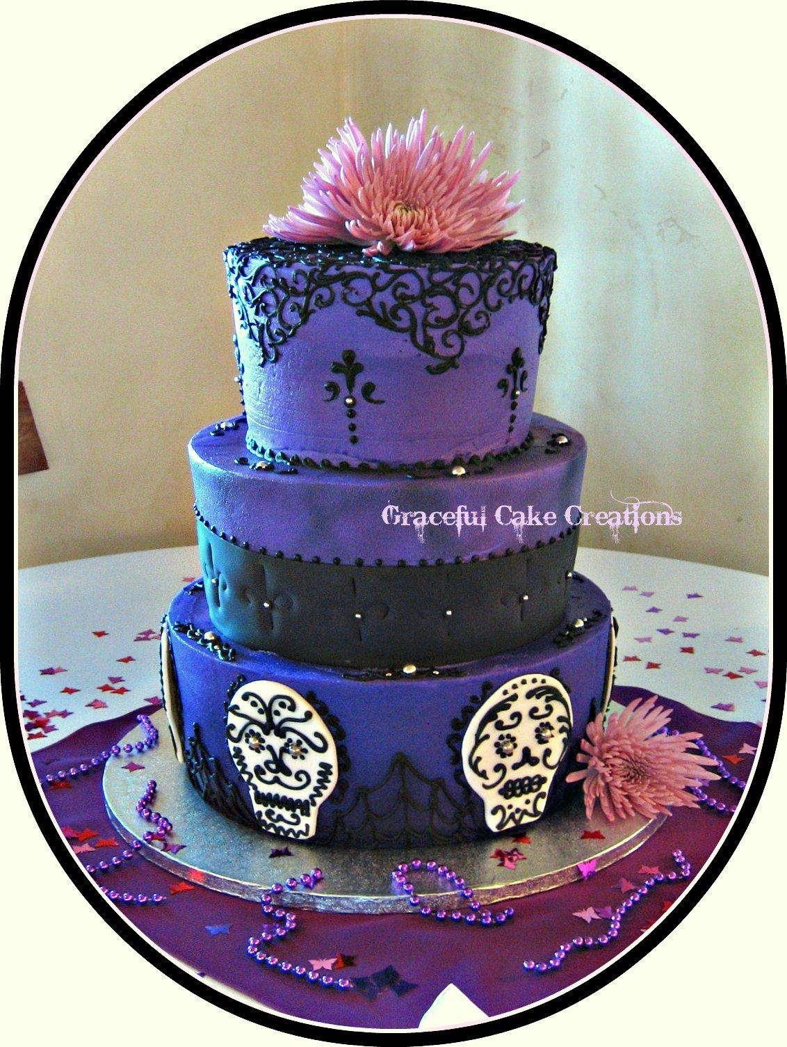 Purple and Black Gothic Wedding cake