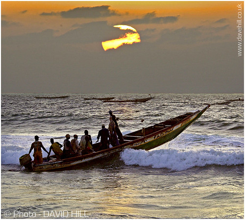sunset beach boat fishing mauritania nouakchott