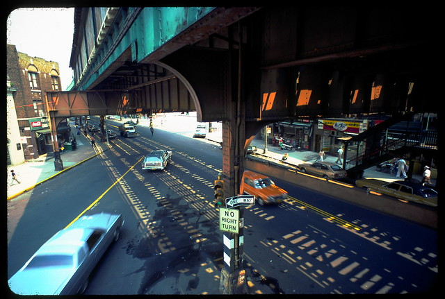 Boro Park Brooklyn 55th St Station Intersection 1976 Kodachrome