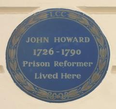 Photo of John Howard blue plaque