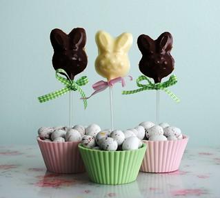 Chocolate bunny lollipops