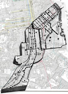 1944 Mission Parkway and Bayshore Freeway routes superimposed onto standard San Francisco street map