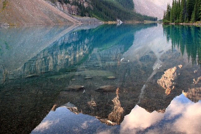 Some of the Ten Peaks reflected on Moraine Lake in Banff National Park