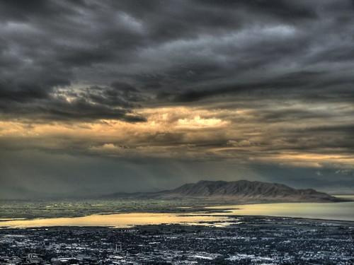 county city light urban usa cloud sun mountain lake storm west reflection rain clouds utah warm wasatch ray unitedstates cloudy sunbeam hdr provo utahlake springville virtualjourney