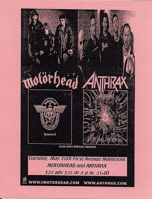 05/20/03 Motorhead/Anthrax @ 1st Avenue, Minneapolis, MN (Handbill)