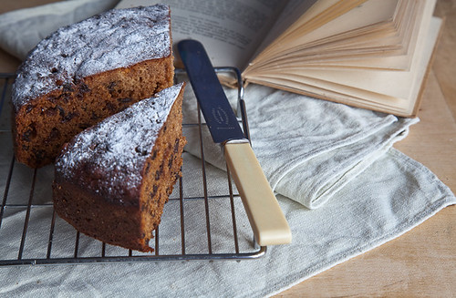 A slice of old-fashioned fruit cake ...