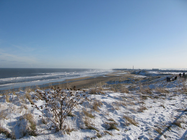 A perfect January day on a snowy beach in the North East of England, absolutely my favourite beaches in the world! | Emma Lamb