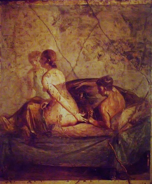 Erotic Roman fresco from Pompeii locked away in the 'Secret Room' of the Museo Archaeologico di Napoli 1st century BCE-1st century CE