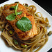 Sautéed Salmon over Porcini Mushroom Tagliolini with Pistachios in a Lemon·Mustard Butter by PHUDE-nyc