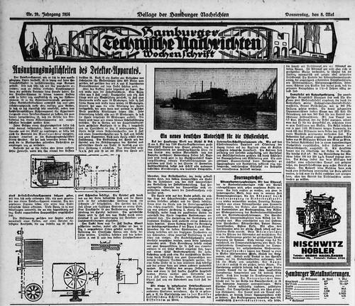 Hamburger Nachrichten, 8.5.1924, Hamburger Technische Nachrichten, Wochenschrift: Weekly Supplement