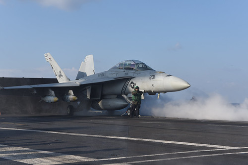 Mon, 02/13/2017 - 07:50 - 170213-N-YL257-027 MEDITERRANEAN SEA (Feb. 13, 2017) Capt. Jim McCall, commander, Carrier Air Wing 8, launches an F/A-18F Super Hornet attached to the Black Lions of Strike Fighter Squadron (VFA) 213 from the aircraft carrier USS George H.W. Bush (CVN 77) in support of Operation Inherent Resolve. The George H.W. Bush Carrier Strike Group is conducting naval operations in the U.S. 6th Fleet area of operations in support of U.S. national security interests. (U.S. Navy photo by Mass Communication Specialist 3rd Class Christopher Gaines/Released)