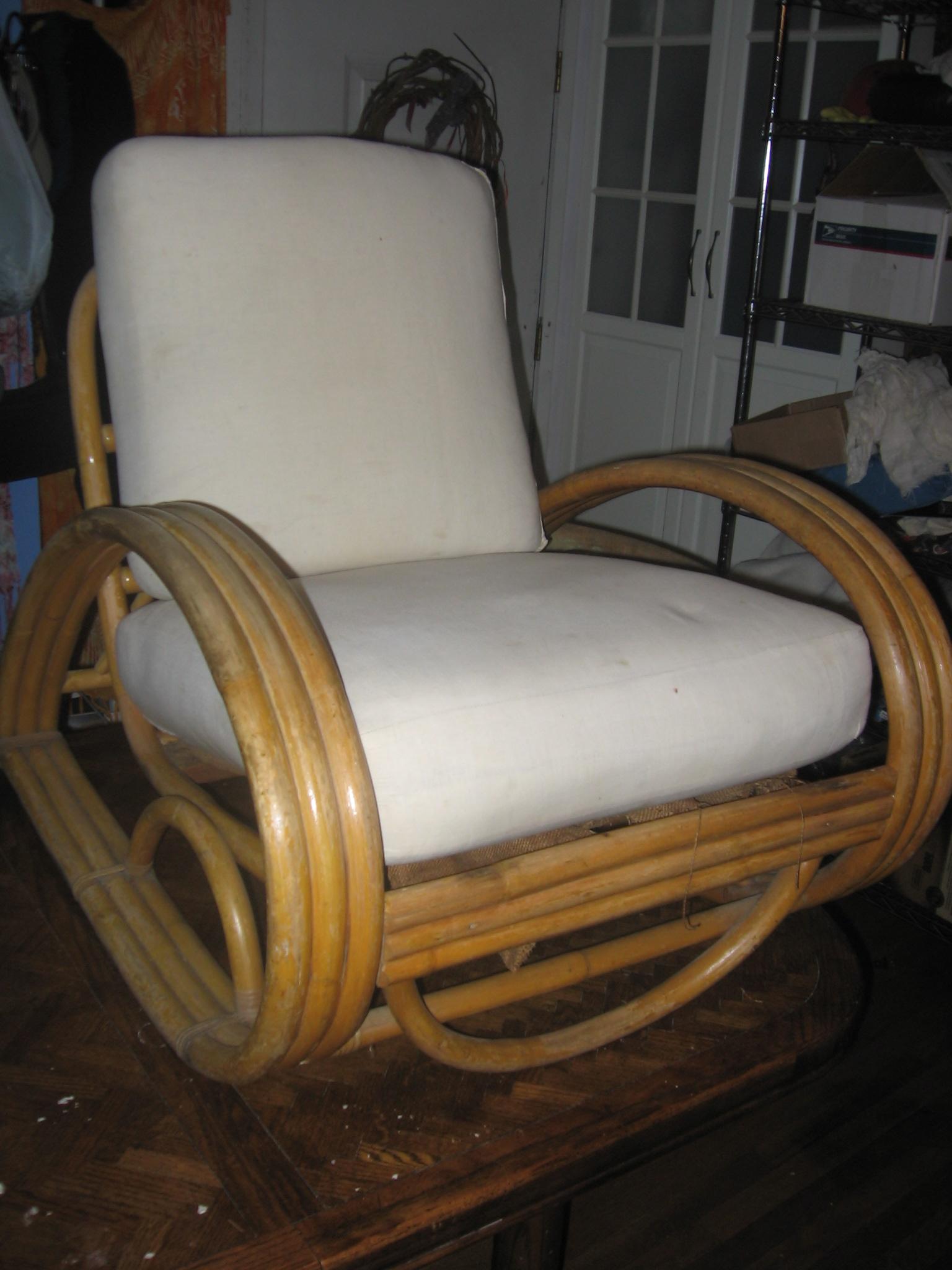 SOLD Hawaiian 3 band rattan chair
