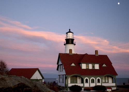 ocean light lighthouse portland head maine slowshutter