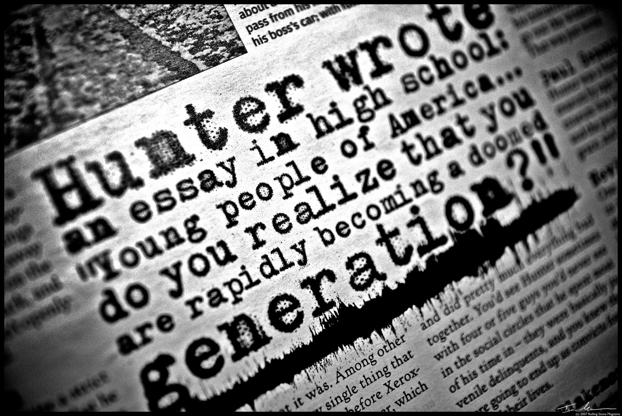L'écriture a bien changé depuis Hunter Thompson! Pas sûr que ces (très) long articles passeraient encore aujourd'hui...