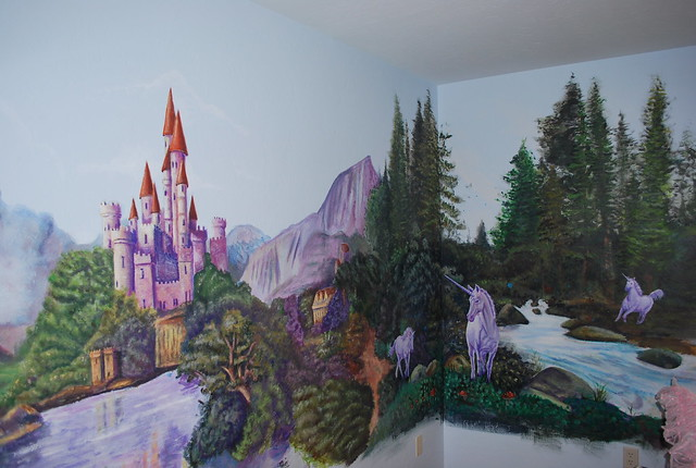Princess castle mural flickr photo sharing for Fairy castle mural