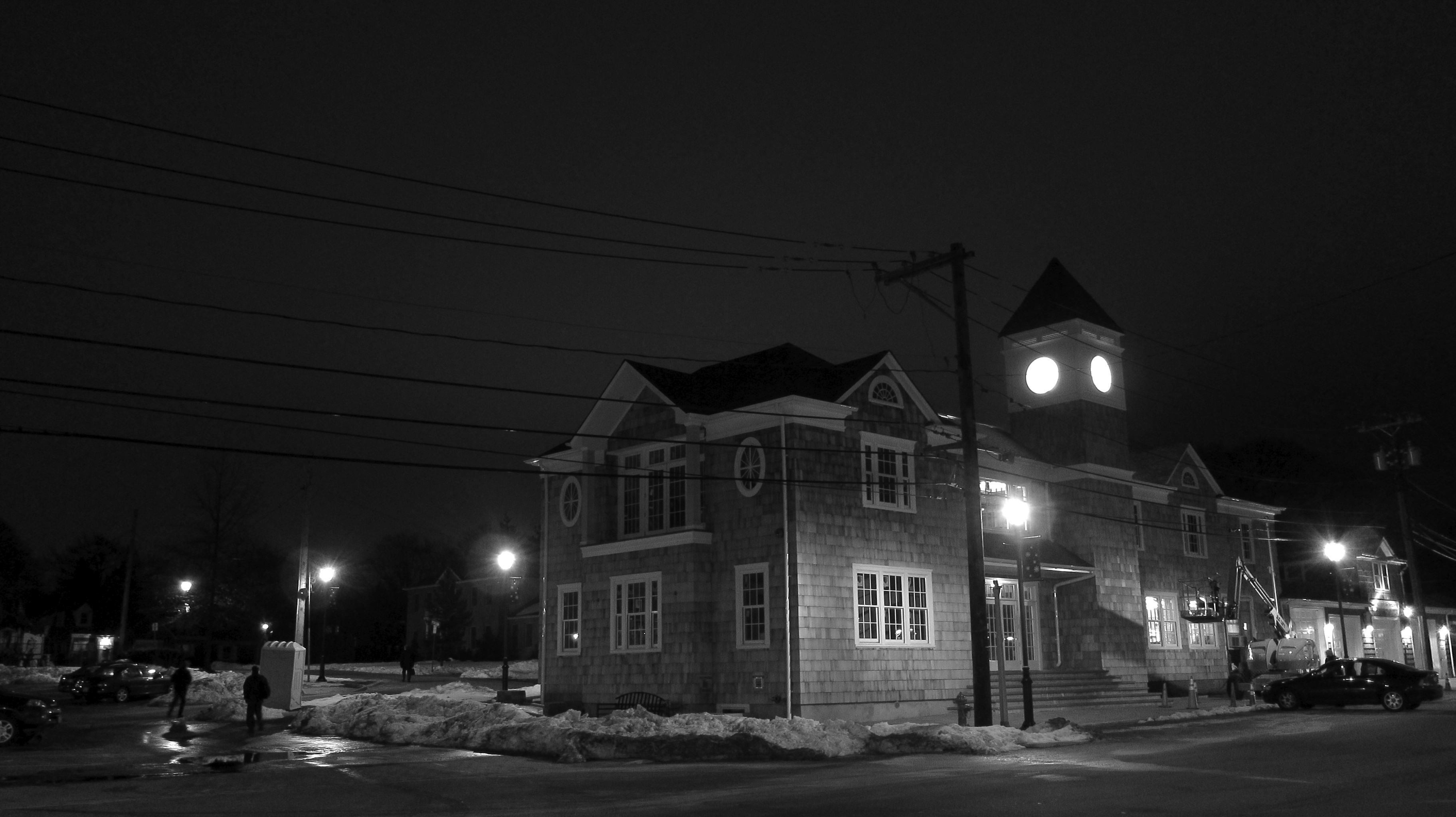 East Williston Village Hall at nighteast williston village