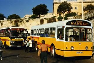 "AEC Swift  "" Street Hawker "" FBY776, and Plaxton bus EBY497 "" Lockeys"" at Floriana Valletta, Malta. April 1996"