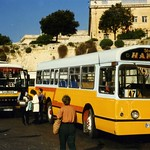 "AEC Swift  "" Street Hawker "" FBY776, and Plaxton bus EBY497 "" Lockeys"" at Floriana Valletta, Malta. April 1996"