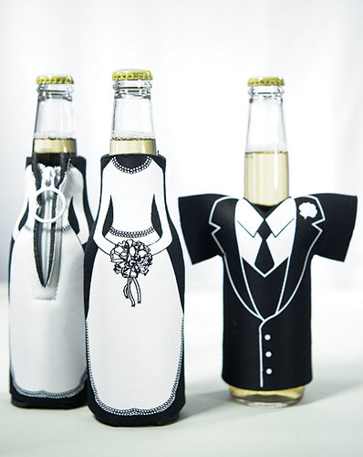 bride and groom bottle koozies unique wedding shower favors as low as