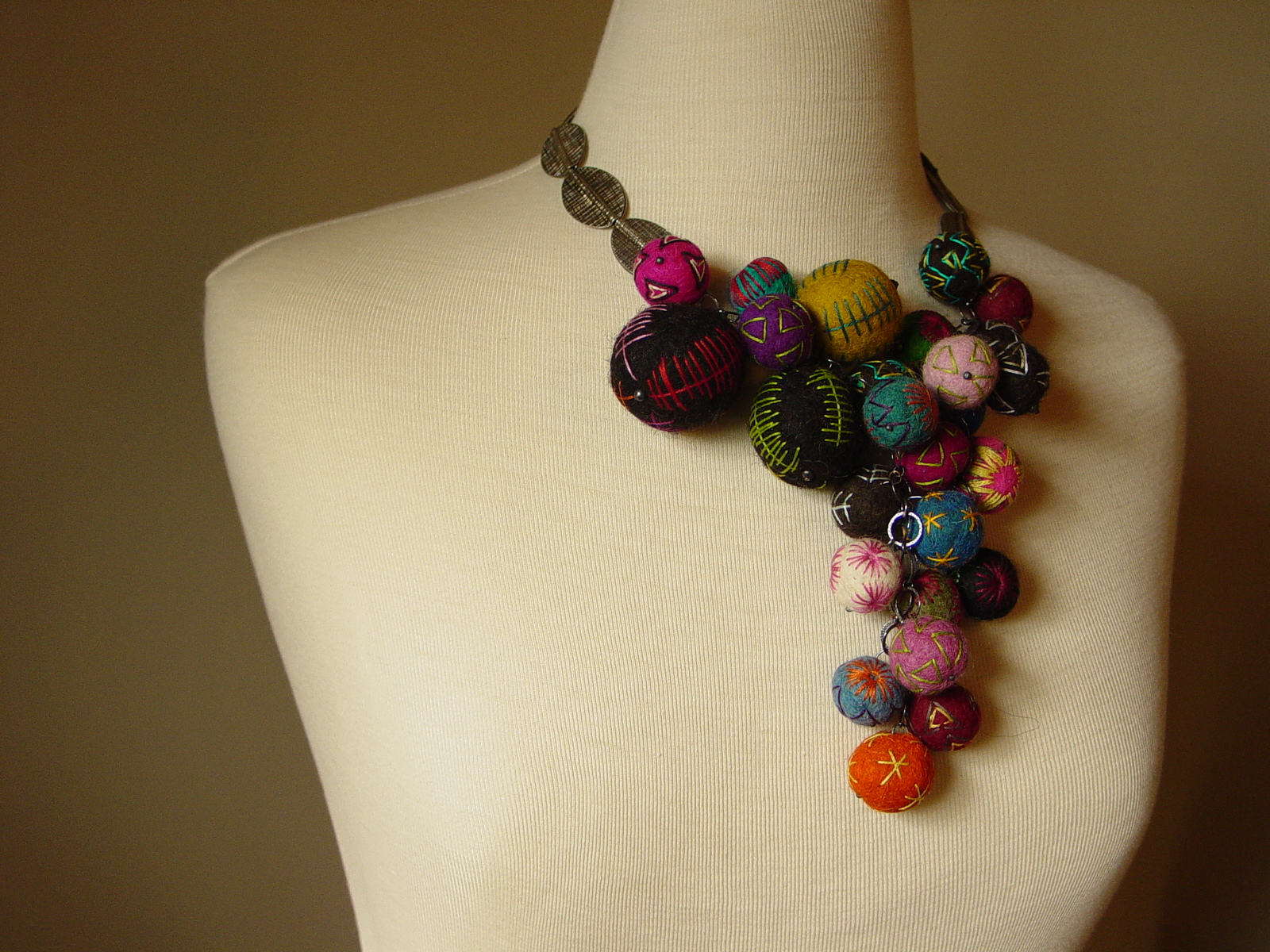 Hand embroidered felt and pure silver necklace flickr