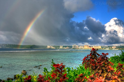 ocean sky water colors clouds bay rainbow waves guam tumon canonrebelxs canonefs1855mmf3556is canoneos1000d tylermccall