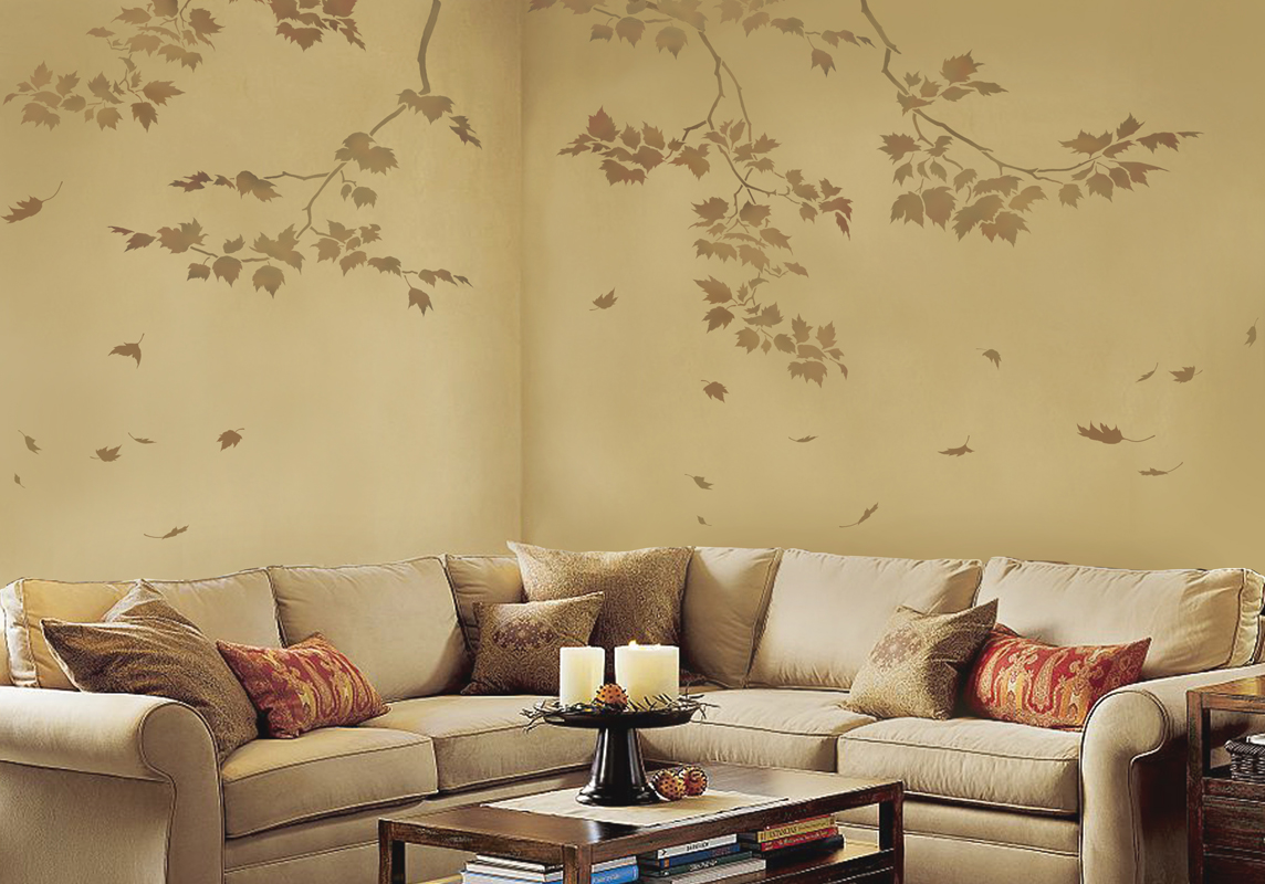 Wall Art Reusable Wall Stencils Sycamore Branches And - ceiling stencils for walls designs
