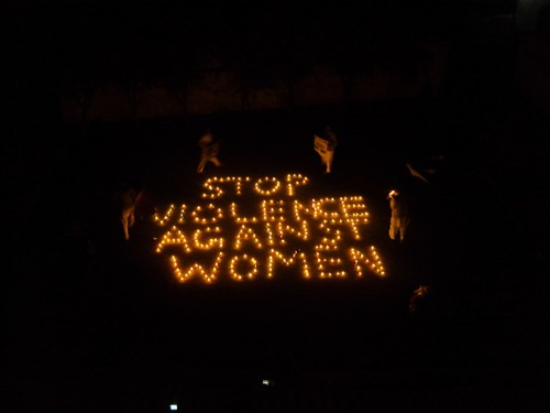 20 x 120 feet message (STOP VIOLENCE AGAINST WOMEN) was written with Candles and artificial flowers by PADO