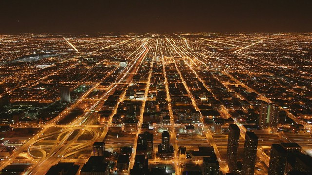 Chicago West Loop seen from Willis Tower