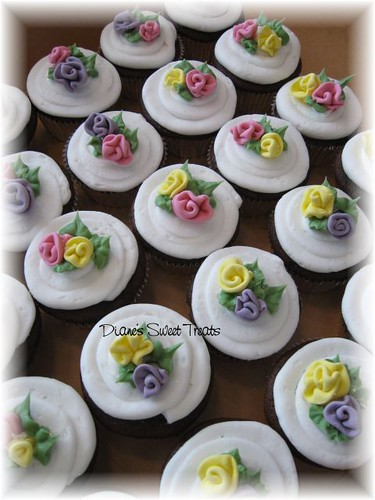 cupcakes with ribbon  roses by Diane's Sweet Treats - (Diane Burke)