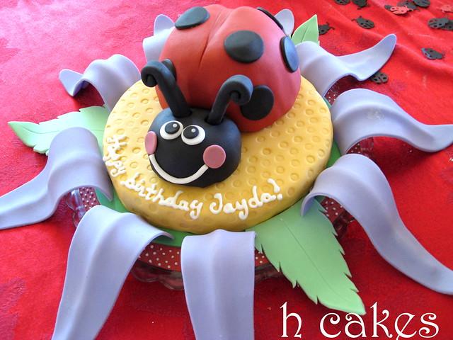 Ladybug on flower cake