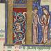 The Hunterian Psalter: Calendar. Historiated 'K' from April.