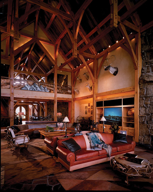 Four suns timber frame home great room flickr photo for Timber frame great rooms