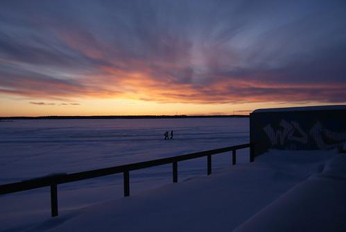 sunset sea snow lumi meri vaasa auringonlasku