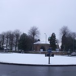 Hall Green Church from the snowy roundabout