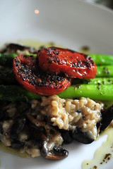 Wild mushroom Risotto with asparagus and oven drie…