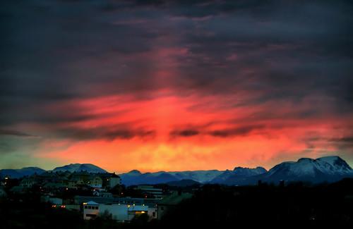 houses sky mountains clouds sunrise hope dawn lights strength daybreak ålesund aalesund klem positivity anewbeginning sunnmørsalpene larigan phamilton