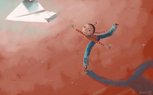 Ilustración (el resultado final): una chica juega con un avión de papel