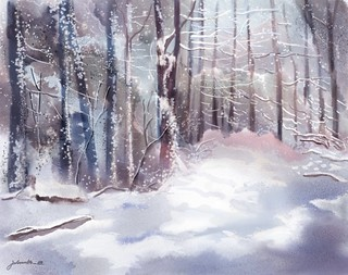Snow Sparkled Woods a digitally painted watercolour by Joan A Hamilton