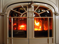window, wood-burning stove, fireplace, iron, hearth,