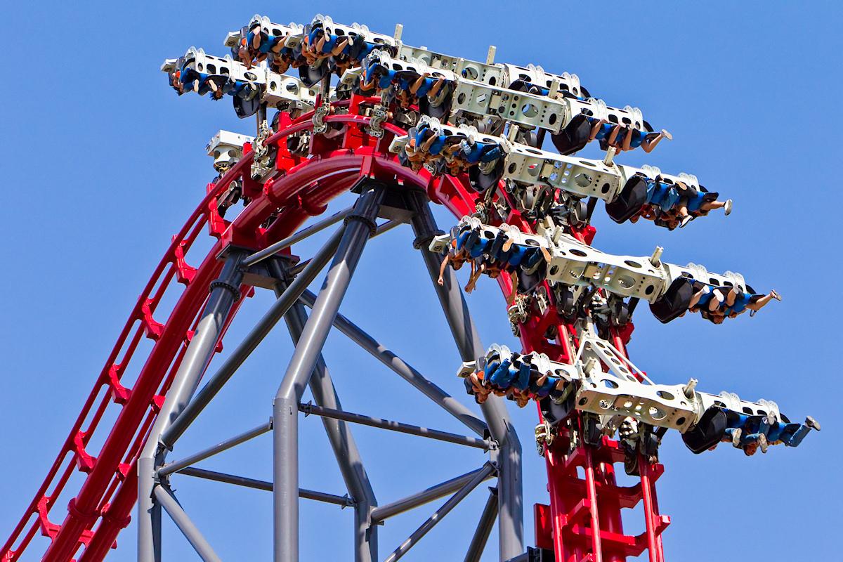X2 roller coaster drop