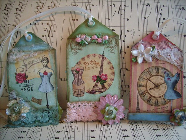 french,paris,corset,shabby,cottage,altered art,ooak,2 sided ,hang tags