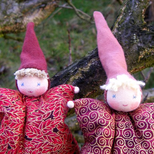 Waldorf toy Gnome with leaves