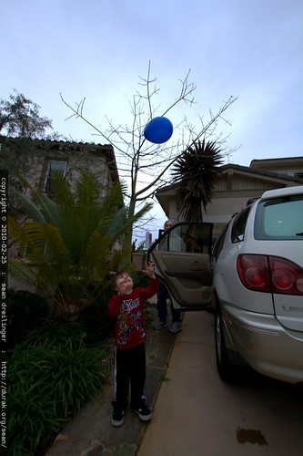 letting his balloon fly away (on purpose)