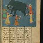 Illuminated Manuscript, Collection of poems (masnavi), Townspeople, who have never seen an elephant, examine its appearance in the dark, Walters Art Museum Ms. W.626, fol. 117b